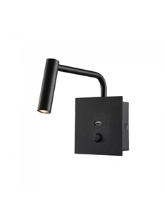 SKU-1487 Appliqué da Hotel per Lettura LED 3W con Interruttore Porta USB Colore Nero 3000K - 1487 - SKU-1487